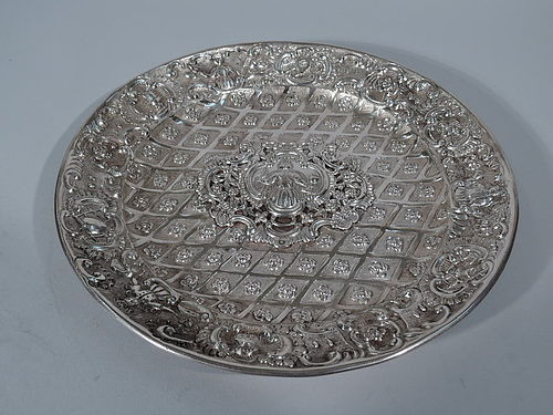 Antique Austrian Silver Charger with Applied Ornamental Plaque 1846