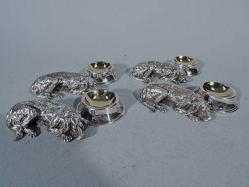 Great Dog Gift - Set of 4 Super Cute Canine Figural Silver Open Salts