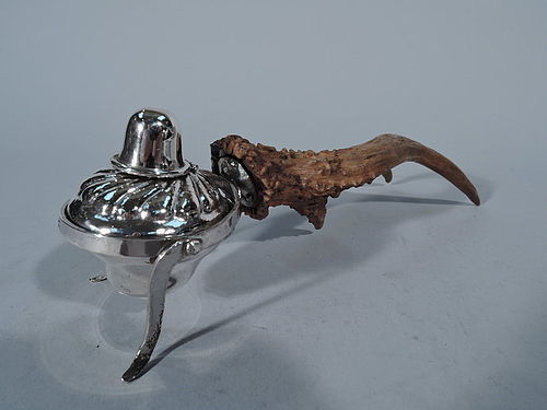 American Edwardian Sterling Silver and Antler Cigar Lighter