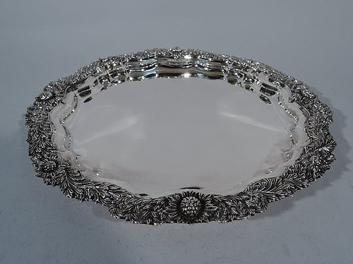 Magnificent Antique Tiffany Chrysanthemum Sterling Silver Tray C 1880