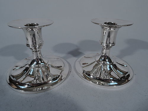 Pair of Arthur Stone Sterling Silver Craftsman Candlesticks
