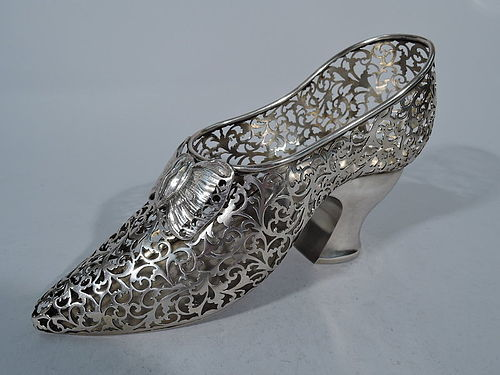 Asprey Edwardian English Sterling Silver Pierced Lady's Shoe