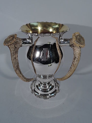 Antique Sterling Silver Trophy Cup with Antlers by Dieges & Clust