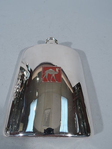 Tiffany Sterling Silver Hip Flask with Red Enameled Camel