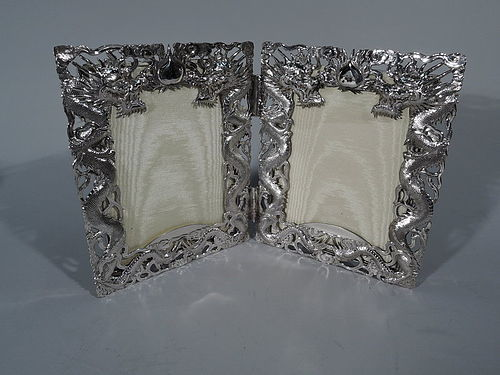 Chinese Export Silver Dragon Diptych Double Picture Frame