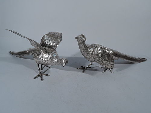 Game Birds Centerpiece - Pair of Antique German Silver Pheasants