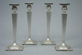 Set of 4 Modern American Sterling Silver Candlesticks C 1915