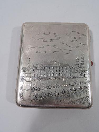 Antique Russian Silver Cigarette Case Circa 1900