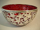 Silver Overlay Cranberry Glass Centerpiece Punch Bowl