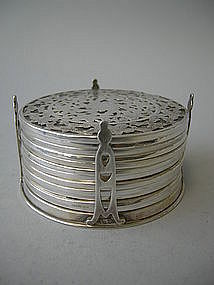 Set 12 American Silver Overlay Coasters  C.1900