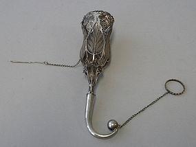 European Antique Silver Posy Holder Tussie Mussie 1880