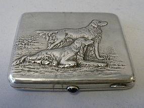 Antique Russian Silver Cigarette Box, Dogs Design
