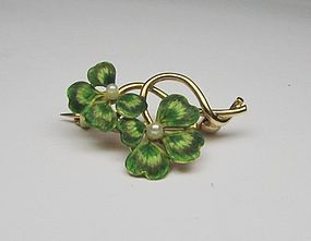 14Kt Gold Art Nouveau Green Enameled Broach