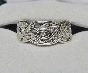 Wide Platinum and Diamond Band