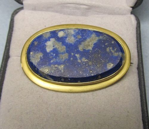 Oval Beveled Lapis Broach