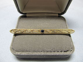 14Kt Gold and Sapphire Bar Pin