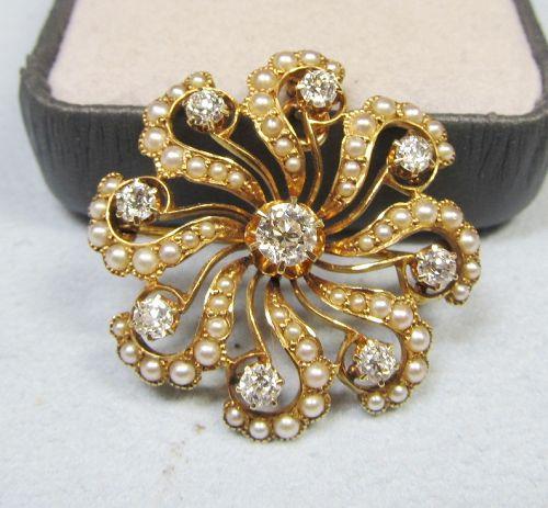 Diamond and Pearl �Pinwheel� Broach / Pendant