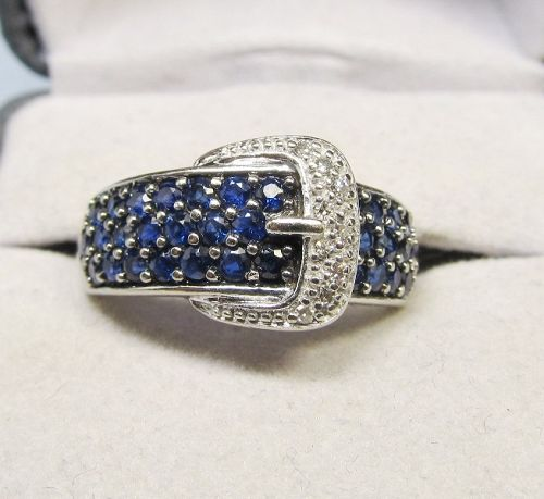 14Kt Gold Sapphire and Diamond Buckle Ring