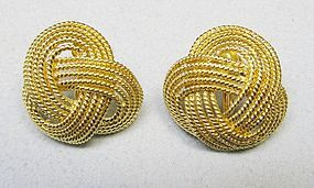 Lovely 14Kt Gold Twisted Knot Earrings