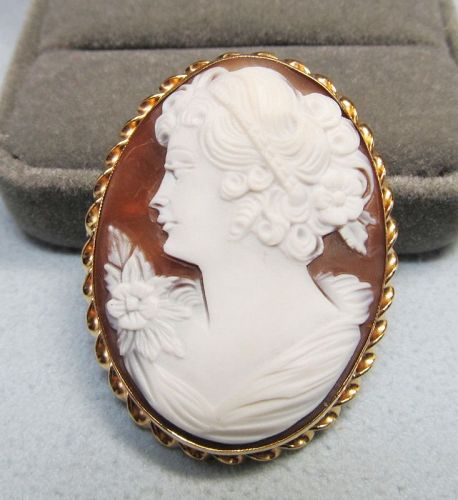 Oval Shell Cameo Broach/Pendant in 14Kt Gold Frame