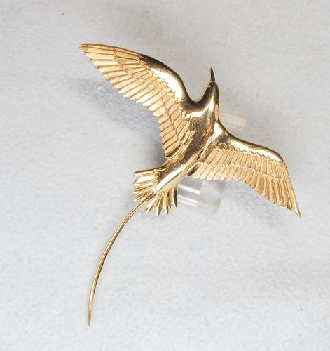 14Kt Gold Flying Tropicbird Broach