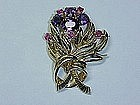 14Kt gold amethyst and ruby retro broach