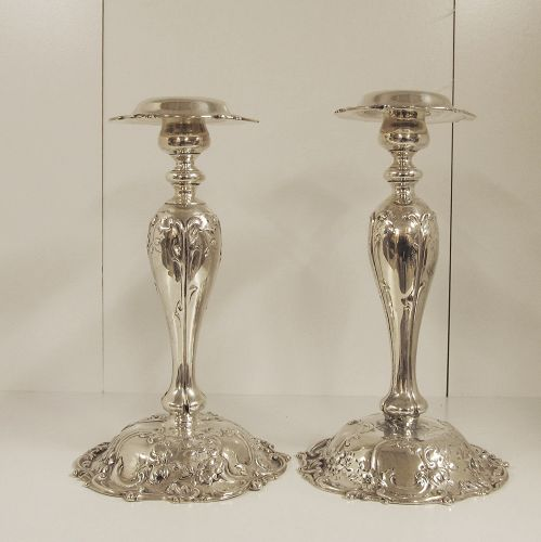 Rare Pair of Sterling Candlesticks by MAUSER
