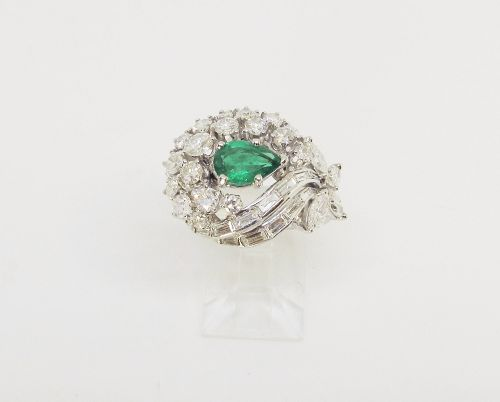 Emerald, Diamond and Platinum Flower Bouquet Ring