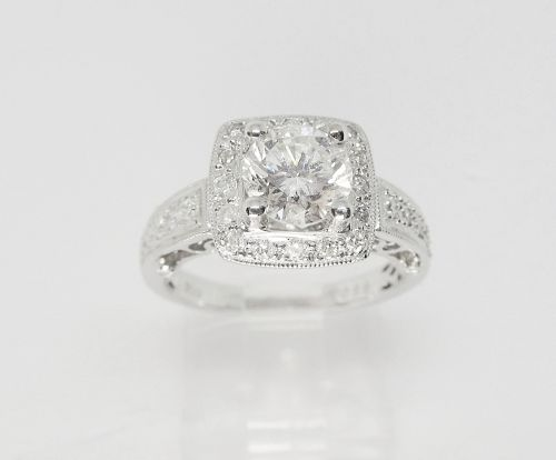 Contemporary Diamond and White Gold Engagement Ring