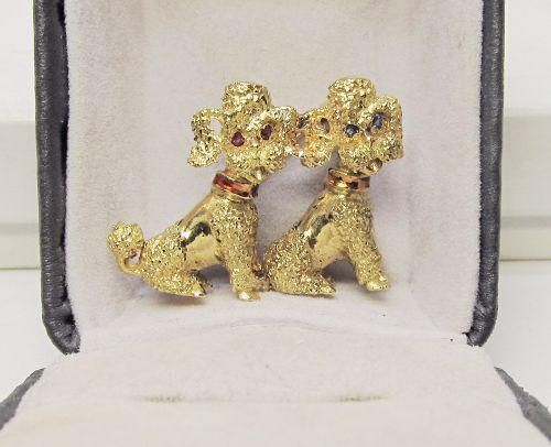 Poodle Brooch in 18 Kt Gold With Sapphire and Ruby Eyes