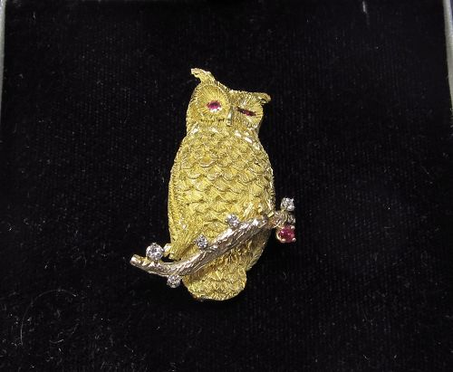 Gold, Ruby and Diamond 1960's Owl Pin
