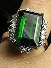 Vintage 14 Kt White Gold and Tourmaline Cocktail Ring