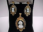 Victorian Stone Cameo Earrings and Pin / Pendant Set