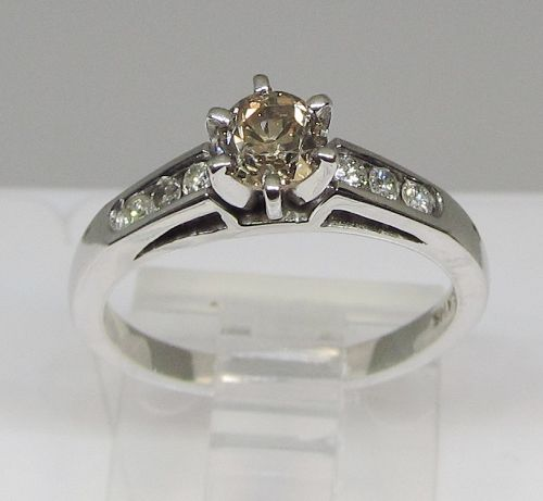 Fancy Brown Diamond and 14Kt Gold Engagement Ring