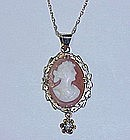 Shell Cameo Pendant in 14Kt Gold Frame with a Diamond