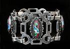 RARE DECO MEXICAN SILVER w/ DICHROIC GLASS GEM BRACELET