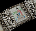 OLD CHINESE SILVER and OX BONE FIGURAL PANEL BRACELET