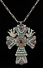 HUGE MEXICAN SILVER and GEMS DOVES CROSS NECKLACE