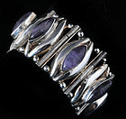 DAVIS style MEXICAN SILVER and AMETHYST BRACELET
