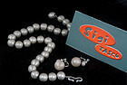 SIGI PINEDA BRUSHED SILVER NECKLACE and EARRINGS SET