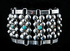 WIDE BOLD DECO DAVIS style MEXICAN SILVER BRACELET