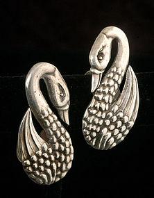 ROMANTIC LOS CASTILLO SILVER REPOUSSE SWANS EARRINGS