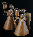 FABULOUS LOS CASTILLO PAIR COPPER ANGEL CANDLE HOLDERS