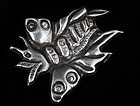 EARLY DECO MEXICAN SILVER REPOUSSE BUTTERFLY PIN/BROOCH