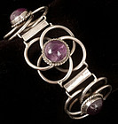 EARLY DECO MEXICAN SILVER and AMETHYST BRACELET
