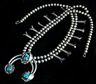 OLD NAVAJO SILVER and TURQUOISE SQUASH BLOSSOM NECKLACE