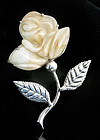 HUGEST EVER DECO MEXICAN SILVER CARVED ROSE BROOCH