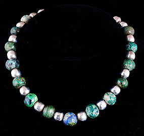 RARE DECO MEXICAN SILVER and OLD STONE BEADS NECKLACE