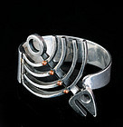 LOS CASTILLO SILVER and COPPER BRACELET FISH SKELETON