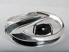 Sigi Pineda Mexican silver boomerang Bracelet w/ obsidian